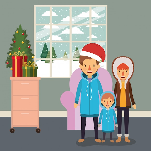 Family members celebrating christmas in the livingroom Premium Vector