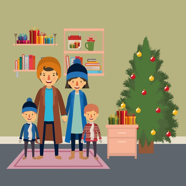 Family members celebrating christmas with pine tree in the house Premium Vector