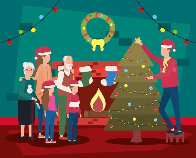 소나무와 함께 크리스마스를 축 하하는 가족 프리미엄 벡터