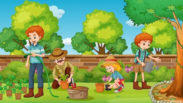 Family members happy in the garden Premium Vector