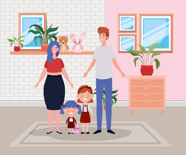 Family members in house place scene Free Vector