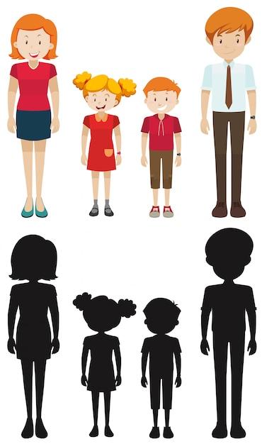 Члены семьи в силуэт и цветные Premium векторы