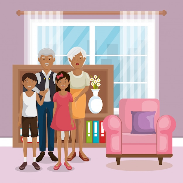 Family members in the living room Free Vector