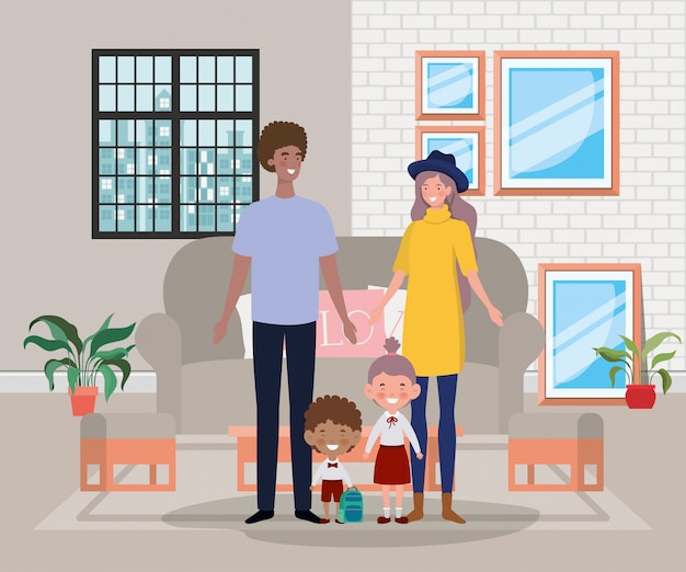 Family members in livingroom house scene Free Vector