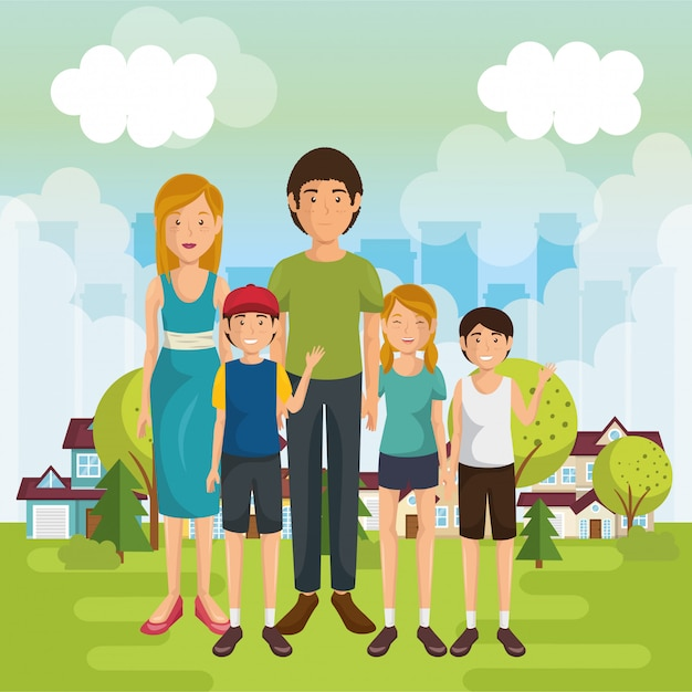 Family members outside of the house Free Vector