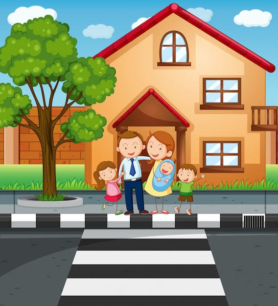 Family members standing in front of the house Free Vector