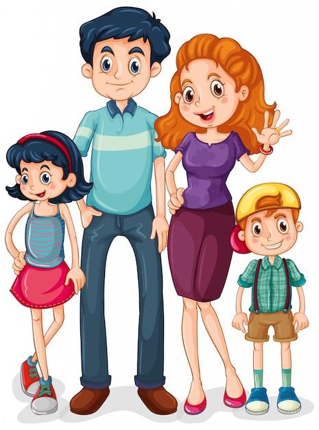 Члены семьи с родителями и детьми на белом фоне Бесплатные векторы