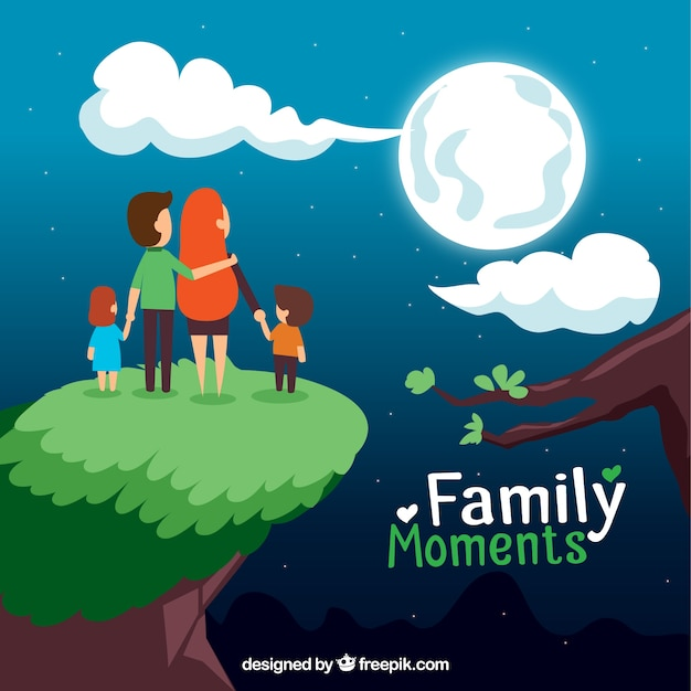 Family moments illustration Free Vector