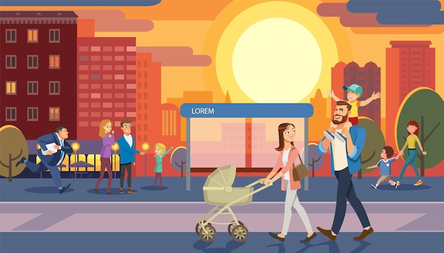 Family morning city walk cartoon vector concept Premium Vector