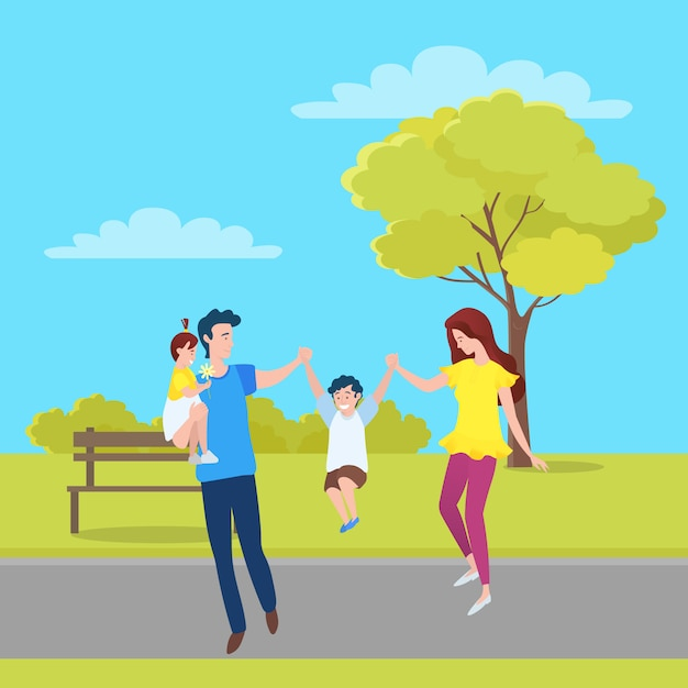 Family, mother, father and kids walking together Premium Vector