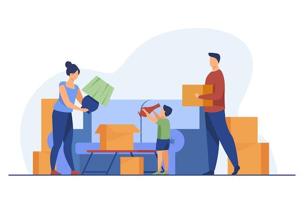 家族の引っ越しや荷造り。親、子供、カートンボックスフラットベクトルイラスト。新しい家、不動産購入、住宅ローンのコンセプト 無料ベクター