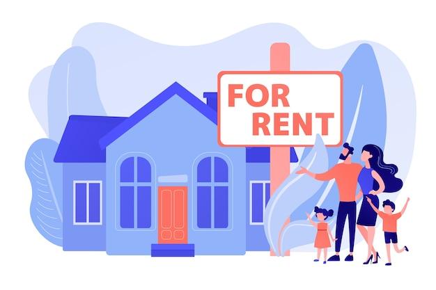 Famiglia che si trasferisce in campagna. agente immobiliare mostra casa a schiera. casa in affitto, tubo di prenotazione online, migliore proprietà in affitto, concetto di servizi immobiliari. pinkish coral bluevector illustrazione isolata Vettore gratuito