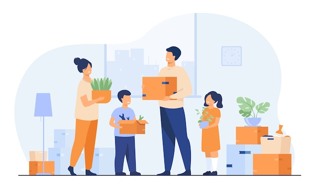 Family moving to new house. happy cartoon man, woman, boy, girl carrying boxes in apartment. vector illustration for new home, delivery service concept Free Vector