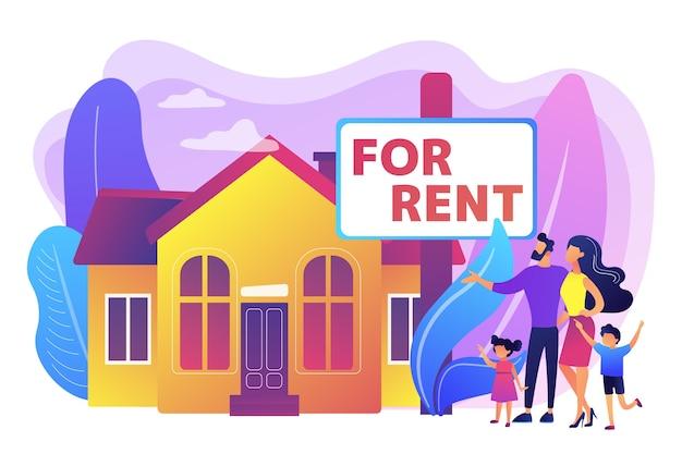 시골 지역으로 이사하는 가족. 부동산은 타운 하우스를 보여줍니다. 임대 주택, 온라인 호스 예약, 최고의 임대 부동산, 부동산 서비스 개념. 밝고 활기찬 보라색 고립 된 그림 무료 벡터