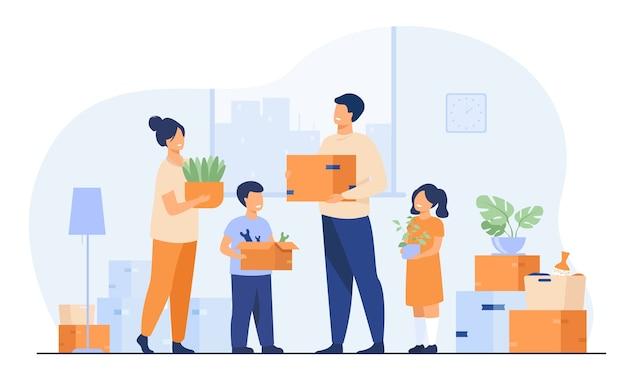 새 집으로 이사하는 가족. 행복 한 만화 남자, 여자, 소년, 아파트에 상자를 들고 소녀. 새 집, 배달 서비스 개념에 대 한 벡터 일러스트 레이 션 무료 벡터