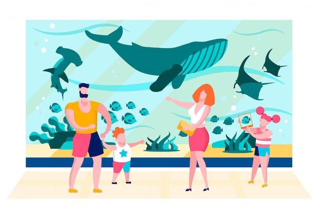 Family near oceanarium aquarium glass flat vector Premium Vector