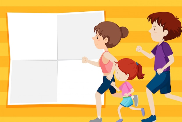 Family on note template Free Vector