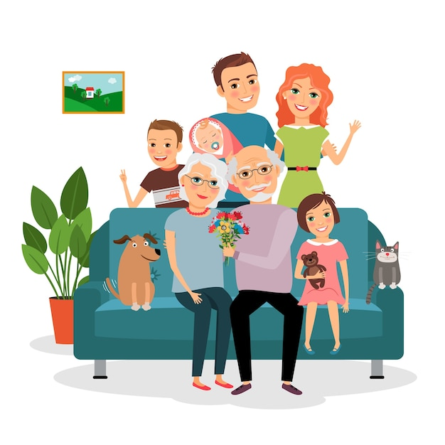 소파에 가족. 아버지와 어머니, 유아, 아들과 딸, 고양이와 개, 할아버지와 할머니. 벡터 일러스트 레이 션 무료 벡터