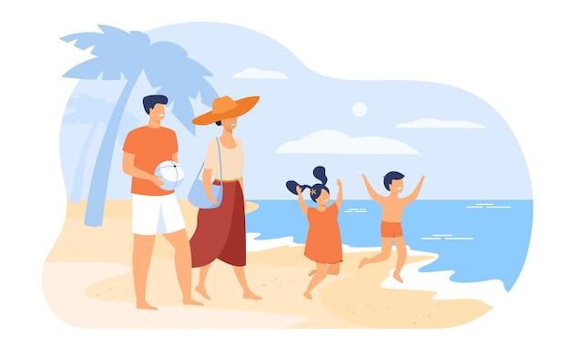 여름 휴가 개념에 가족입니다. 부모 부부와 아이들은 해변을 걷고, 바닷물에 목욕하고, 여가를 즐기고 있습니다. 야외 활동 및 여름 여행 주제 무료 벡터