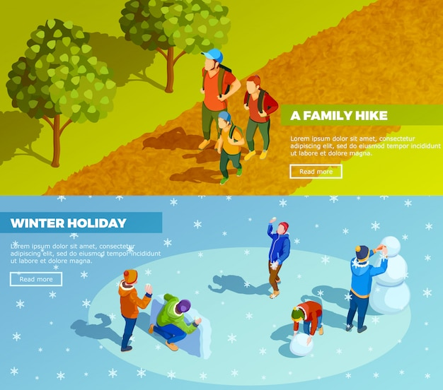 Family outdoor activities isometric banners set Free Vector