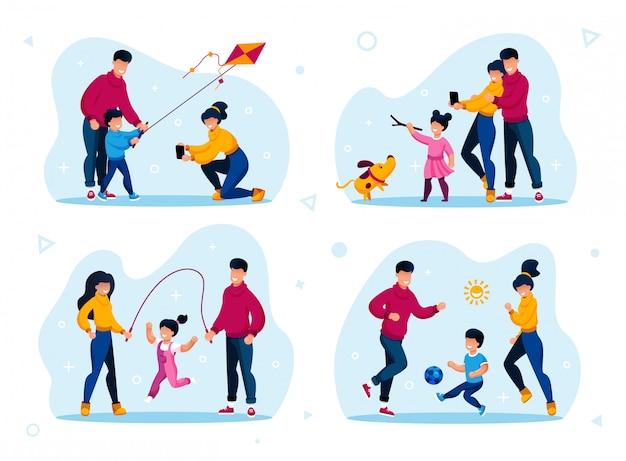 Family outdoor activities types flat set Premium Vector