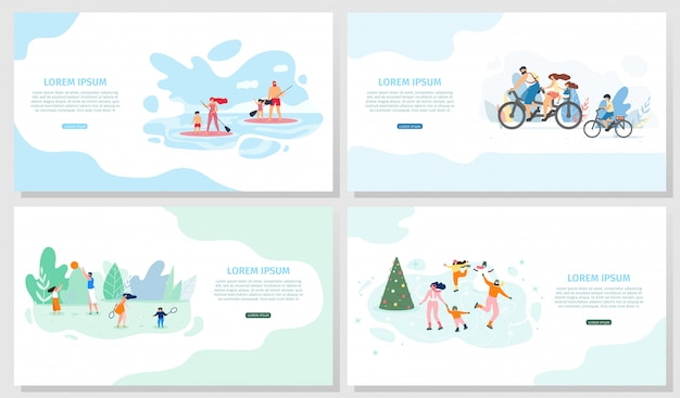 Family outdoor activities vector web banners set Premium Vector