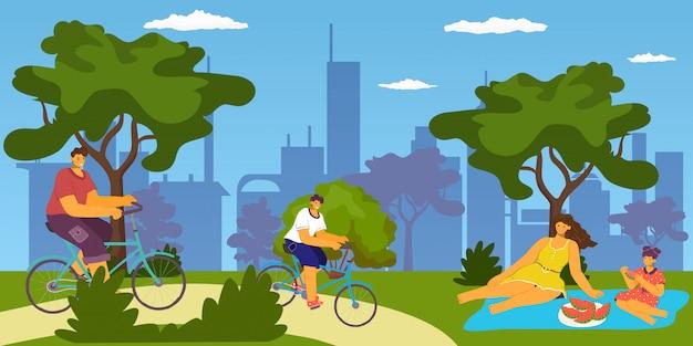 都市公園の活動、自転車、ピクニック、屋外で食べる家族、一緒に楽しんで、休暇やレジャーの漫画イラスト。父の母、息子、娘が公園で自転車に乗って。 Premiumベクター
