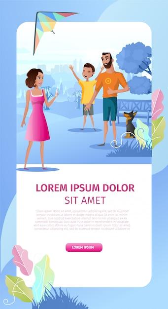 Family outdoor party cartoon vector landing page Free Vector