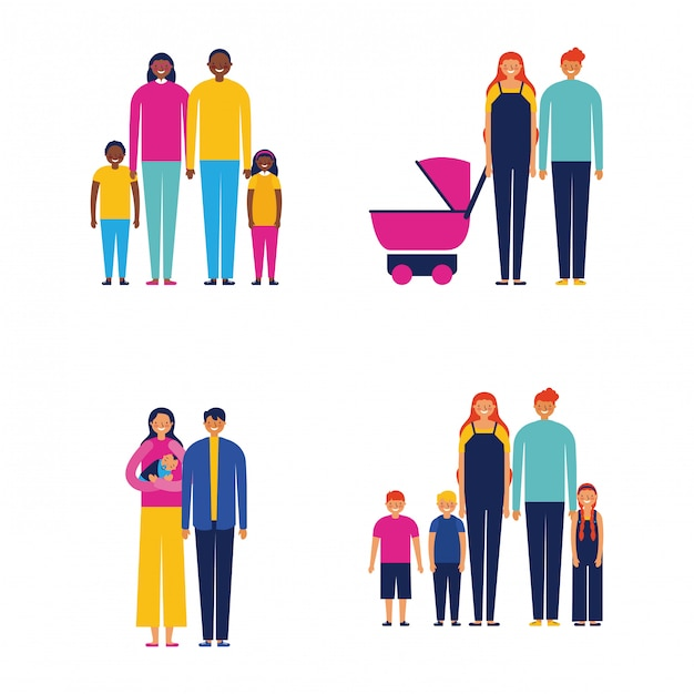 Family outdoor together Free Vector