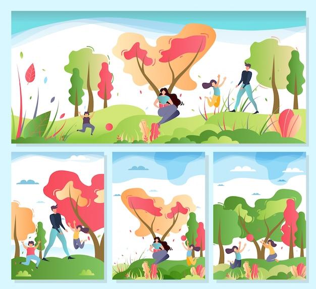 Family outdoors activities on nature cartoon set Premium Vector