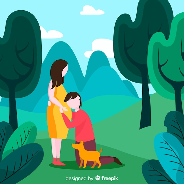 Family outdoors Free Vector