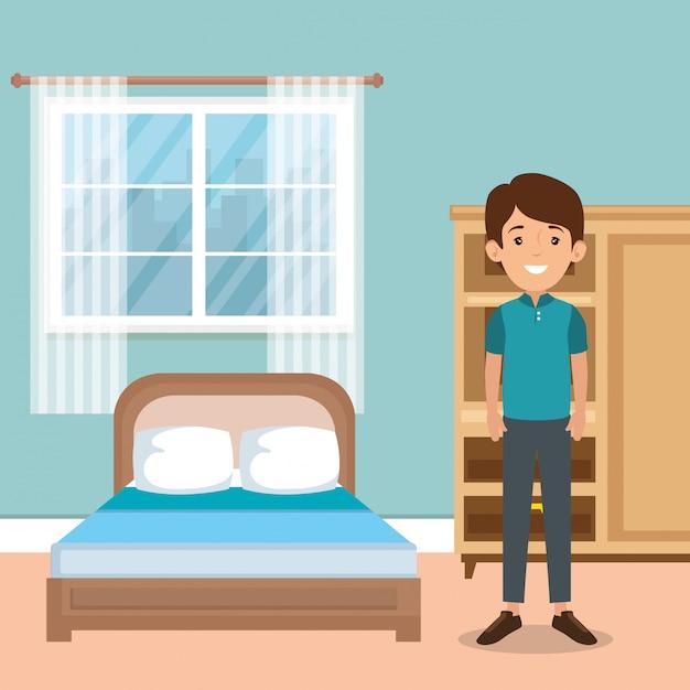 Family parents in bedroom scene Free Vector