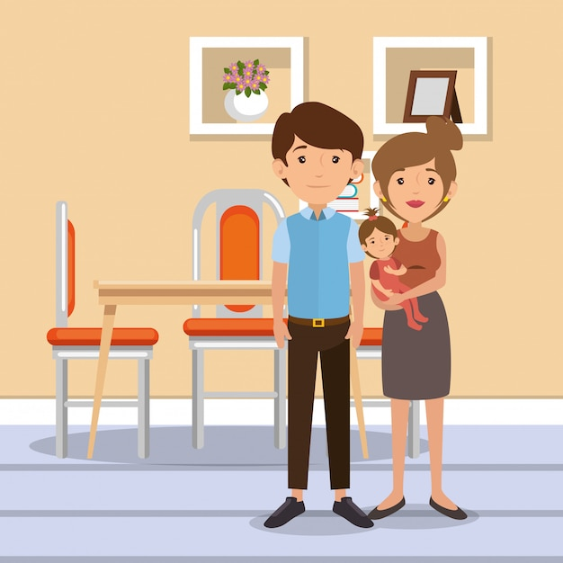 Family parents in dinning room scene Free Vector