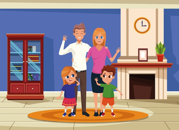 Family parents and kids cartoons Free Vector