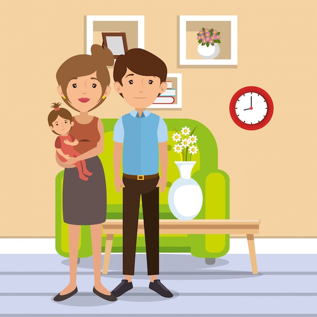 Family parents in living room scene Free Vector