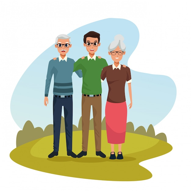 Family parents and son cartoons Free Vector