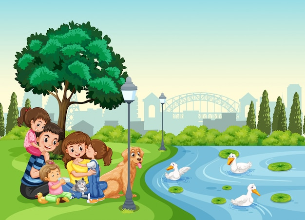 Family at the park Premium Vector