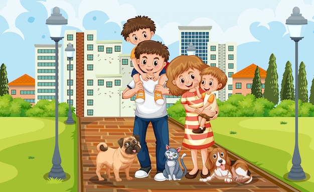 A family at the park Premium Vector