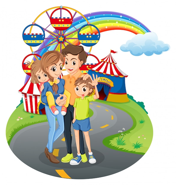A family at the park Free Vector
