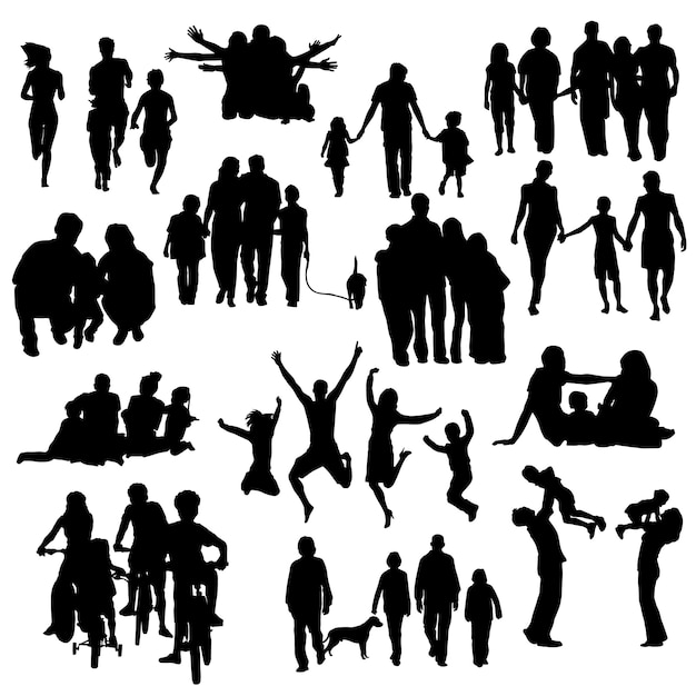 Family people happy silhouette clip art vector Premium Vector