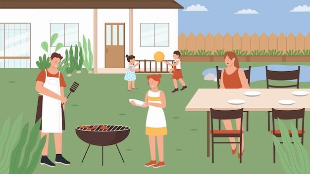Семейные люди в летнем пикнике иллюстрации. мультфильм счастливая мать отец пикники гриль мясные колбаски, веселые детские персонажи играют в игру. вечеринка с барбекю, фон активности на выходных Premium векторы