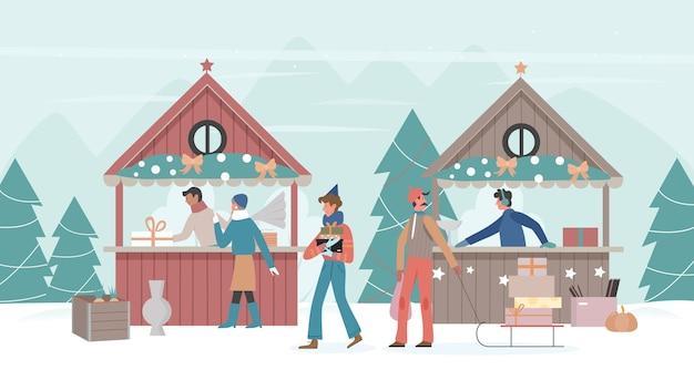 Семейные люди гуляют по рождественскому городскому или деревенскому рынку Premium векторы