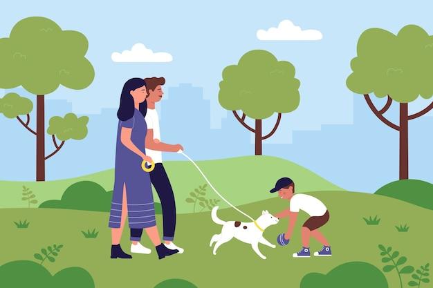 夏の都市公園の風景イラストで家族の人が愛犬と一緒に歩きます。 Premiumベクター