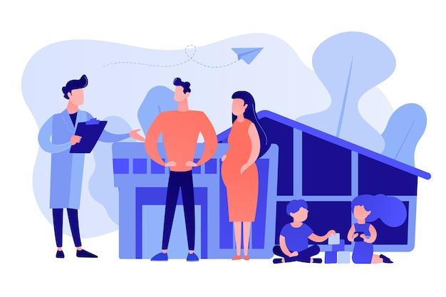 Medico di famiglia con marito, moglie incinta e bambini che giocano. medico di famiglia, pratica medica di famiglia, concetto di assistenza sanitaria primaria. rosa corallo bluevector illustrazione vettoriale isolato Vettore gratuito