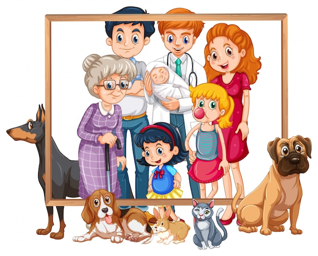 A family photo frame Free Vector