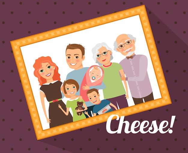 Ritratto di foto di famiglia. madre padre figlio figlia bambino nonna nonno. illustrazione vettoriale Vettore gratuito