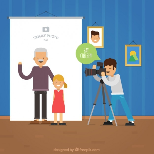 Family photo session Free Vector