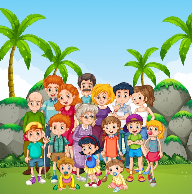 Family photo shooting in the park Free Vector