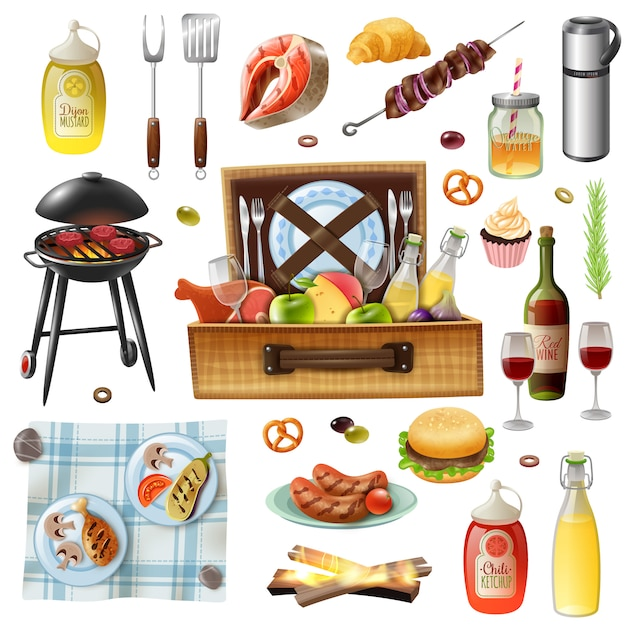 Family picnic barbecue realistic icons set Free Vector