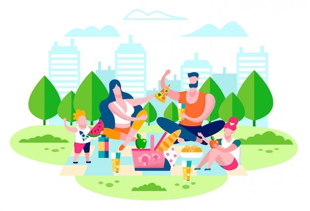 Family picnic in city park flat vector concept Premium Vector